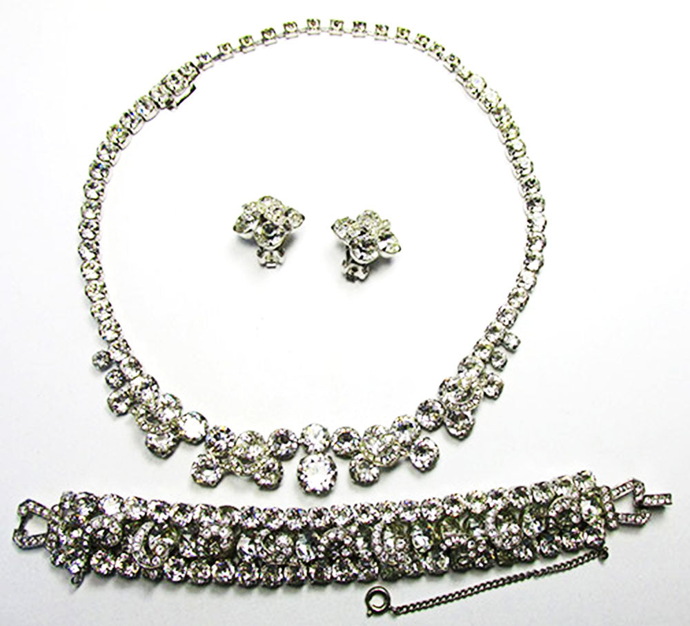 Weiss Vintage Rhinestone Necklace, Earrings, and Bracelet Set