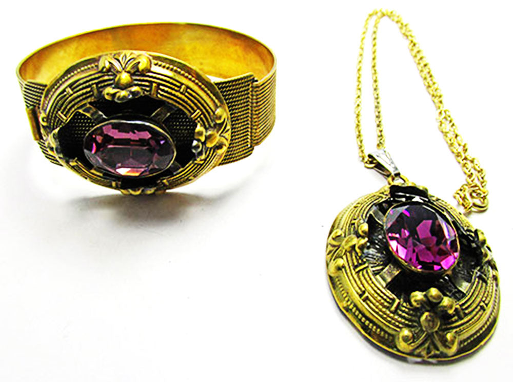 Antique 1900s Jewelry Art Nouveau Amethyst Bracelet and Pendant Set