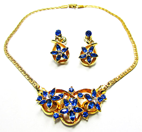 Vintage 1950s Dazzling Sapphire Floral Necklace and Earrings Set