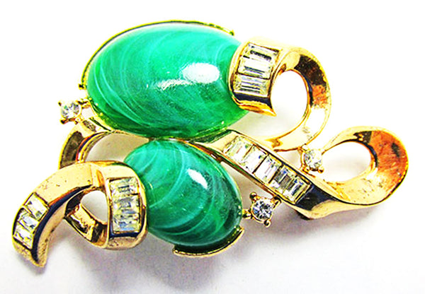 Crown Trifari Vintage 1950s Superb Book Piece Jade Rhinestone Set