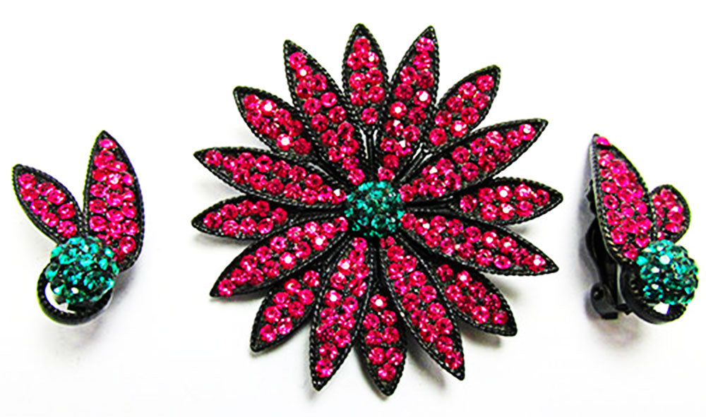 Weiss 1950s Vintage Fuchsia Diamante Floral Pin and Earrings Set - Front