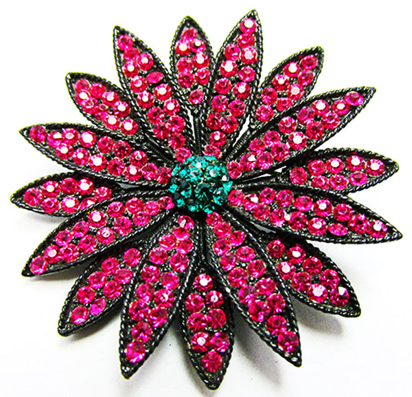 Weiss 1950s Vintage Fuchsia Diamante Floral Pin and Earrings Set - Pin