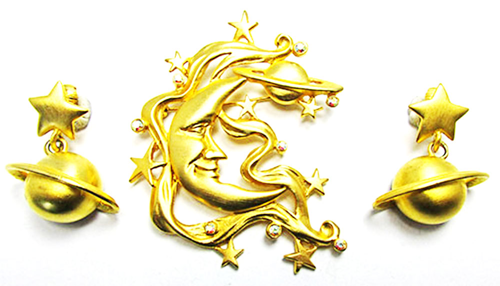 JJ Vintage 1960s Whimsical Moon, Stars, and Planets Pin and Earrings
