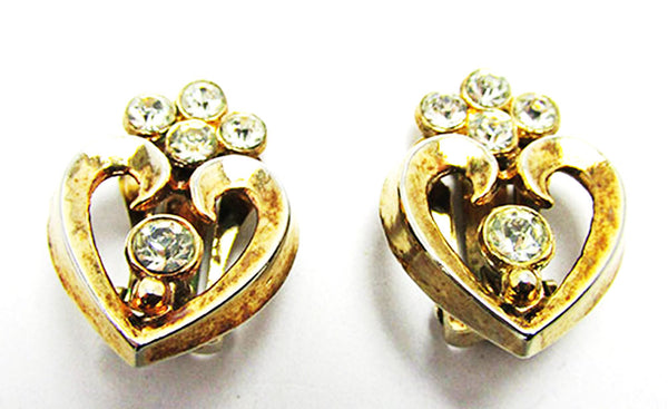 Crown Trifari 1950s Vintage Jewelry Book Piece Diamante Heart Set - Earrings