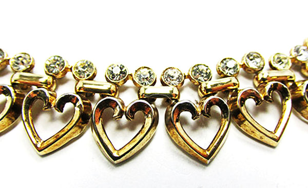 Crown Trifari 1950s Vintage Jewelry Book Piece Diamante Heart Set - Close Up