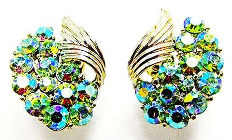 Coro Amazing Vintage 1950s Mid-Century Iridescent Floral Earrings