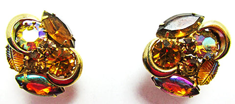 Kramer Vintage Mid-Century Elegant Topaz Floral Button Style Earrings