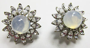 Crown Trifari Vintage Sophisticated 1950s Moonstone Button Earrings