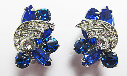Weiss Vintage 1950s Sophisticated Sapphire Blue Floral Earrings