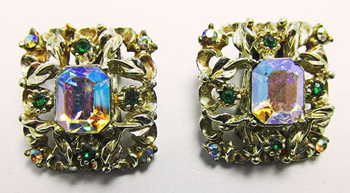 Coro Vintage Eye-catching 1950s Geometric Iridescent Floral Earrings
