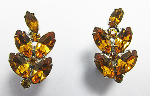 B.A. Ballou Vintage 1930s Retro Dainty Topaz Floral Earrings