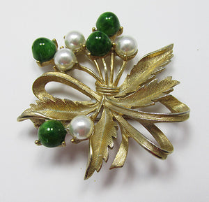 Sarah Coventry Vintage 1960s Mint Jade and Pearl Floral Bouquet Pin