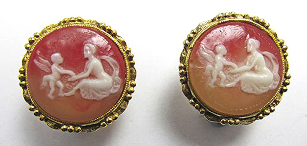 Vintage Jewelry Timeless 1950s Mid-Century Cameo Button Earrings - Front