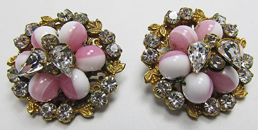 Vintage Mid Century Stunning Art Glass Floral Button Earrings