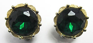 Charel Rare Vintage Mid Century 1950s Elegant Emerald Button Earrings