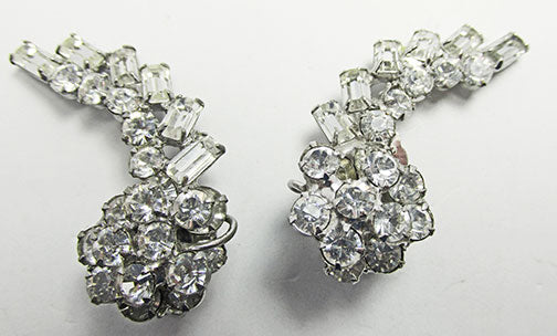 Vintage 1950s Mid Century Stunning Two Tiered Floral Spray Earrings