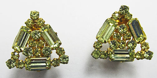 Kramer Vintage Glamorous Mid Century Citrine Triangular Earrings