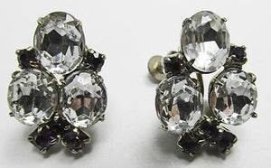Vintage Mid Century 1950s Clear and Amethyst Rhinestone Earrings