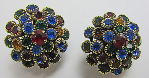 Vintage Retro Multi-Colored Contemporary Style Button Earrings