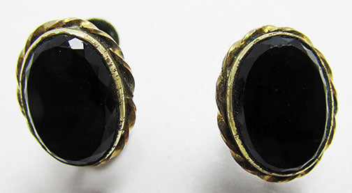 Bal-Ron Vintage 1950s Delicate Gold Filled Onyx Earrings