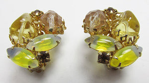Dramatic Vintage Mid Century 1950s Rhinestone Button Earrings