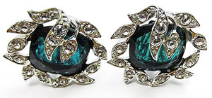 Sarah Coventry Vintage Jewelry 1960s Retro Emerald Diamante Earrings - Front