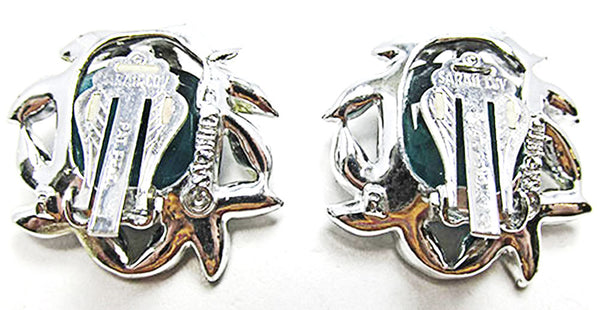 Sarah Coventry Vintage Jewelry 1960s Retro Emerald Diamante Earrings - Back