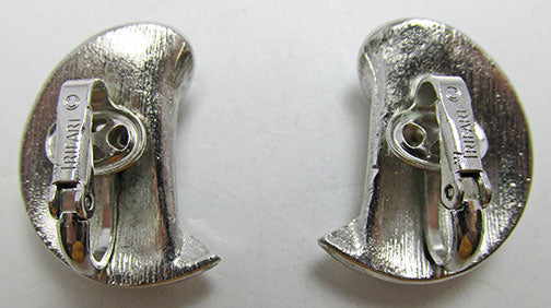 Crown Trifari Impeccable Vintage Retro Abstract Silver Button Earrings