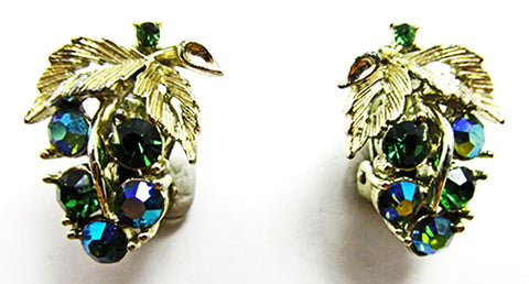 Gorgeous Lisner Vintage 1950s Mid-Century Grape Button Earrings