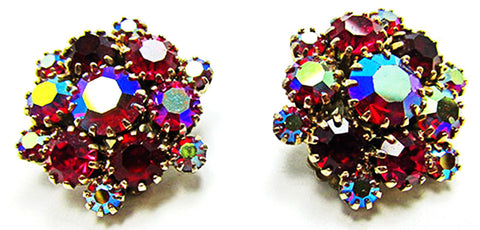 Vintage Jewelry 1950s Mid-Century Ruby Diamante Floral Button Earrings - Front