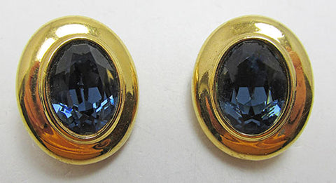 Swarovski Vintage Retro Minimalist Contemporary Oval Button Earrings