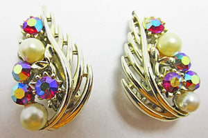 Lisner Vintage Distinctive 1950s Aurora Borealis and Pearl Earrings