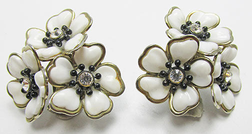 Vintage 1950s Eye-Catching Rhinestone Floral Button Earrings