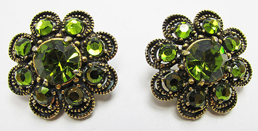 Weiss Vintage 1950s Superb Peridot Green Floral Earrings