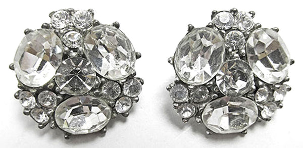 Bogoff Vintage Jewelry 1950s Mid-Century Striking Diamante Earrings - Front
