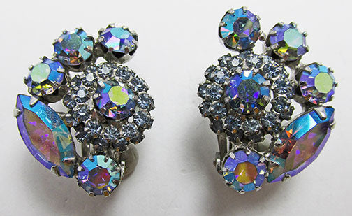 Weiss Vintage 1950s Exquisite Aurora Borealis Floral Button Earrings