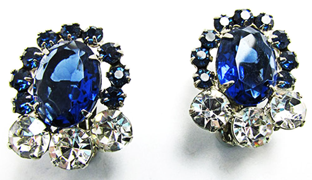 Vintage 1950s Jewelry Bold Sapphire Diamante Statement Earrings - Front