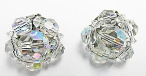 Dainty Vintage Mid Century 1950s Crystal Button Earrings