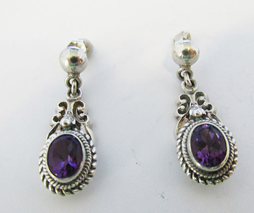 Vintage 1980s Contemporary Style Amethyst Sterling Drop Earrings