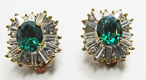 Vintage 1960s Spectacular Contemporary Style Emerald Glamour Earrings