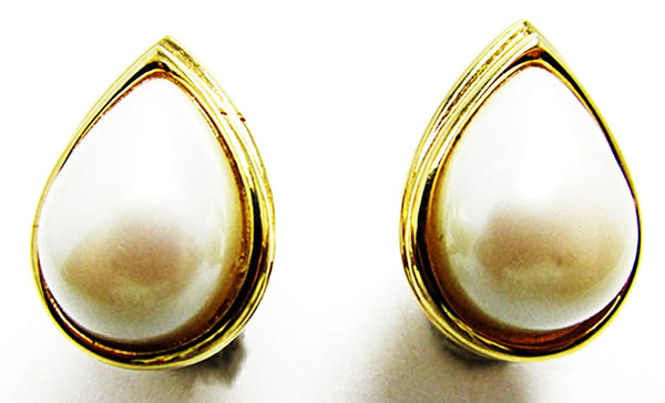 Monet 1970s Vintage Jewelry Sophisticated Pearl Cabochon  Earrings - Front