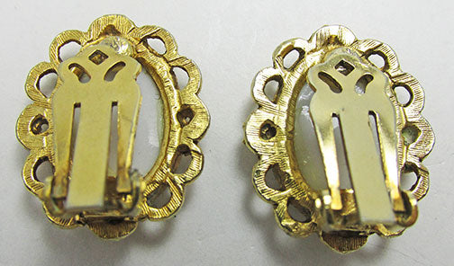 Vintage Unique Retro Victorian Style Gold and White Button Earrings