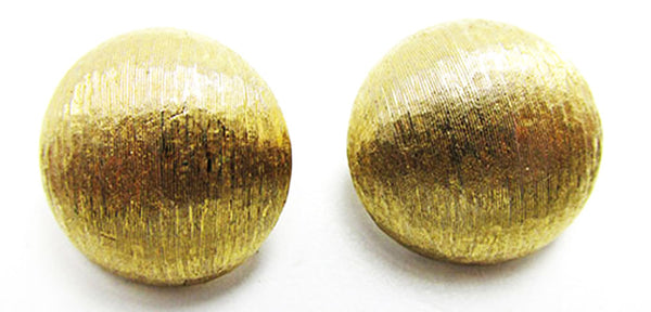 Monet Vintage Jewelry 1960s Desirable Retro Gold Button Earrings - Front