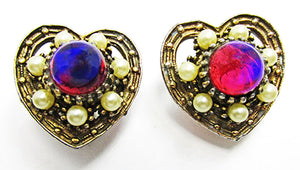 Vintage 1940s Dazzling Heart Shaped Red Cabochon and Pearl Earrings