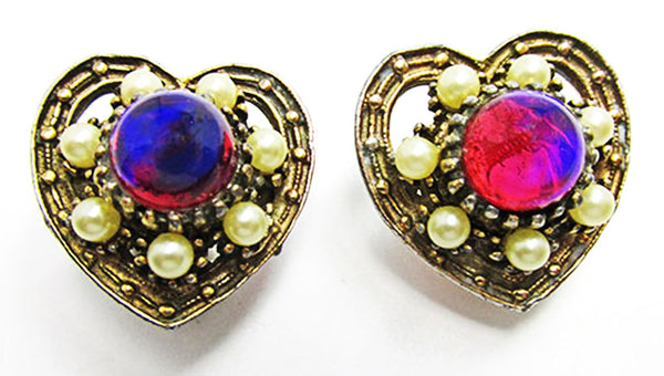Vintage 1940s Jewelry Dazzling Red Cabochon and Pearl Heart Earrings - Front