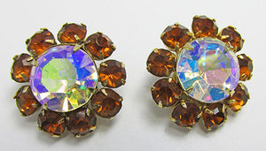 Vintage Mid Century 1950s Dazzling Rhinestone Floral Button Earrings