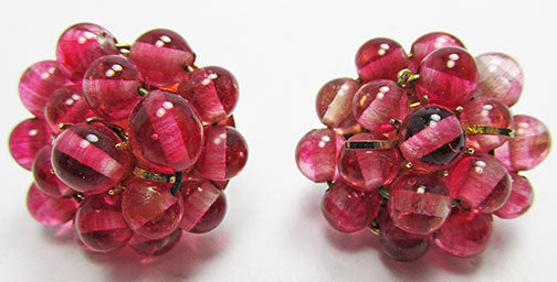 Vintage 1950s Timeless Mid Century Pink Glass Button Earrings