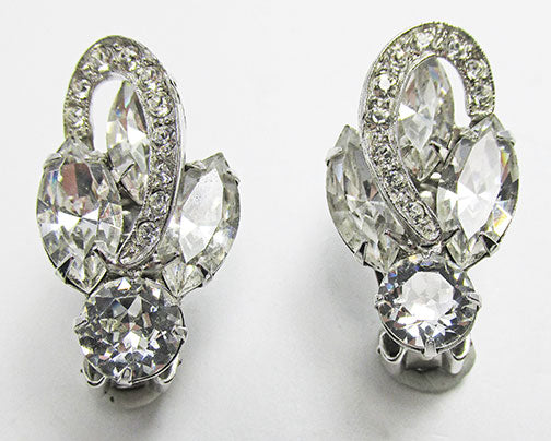 Weiss Vintage 1950s Exquisite Mid Century Clear Rhinestone Earrings