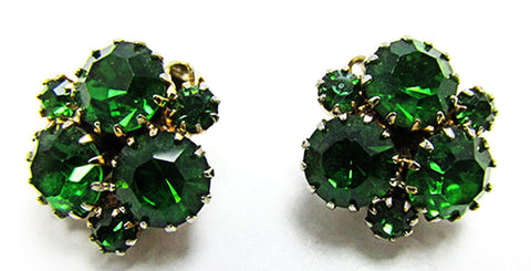 Dazzling Vintage 1950s Mid-Century Peridot Rhinestone Button Earrings