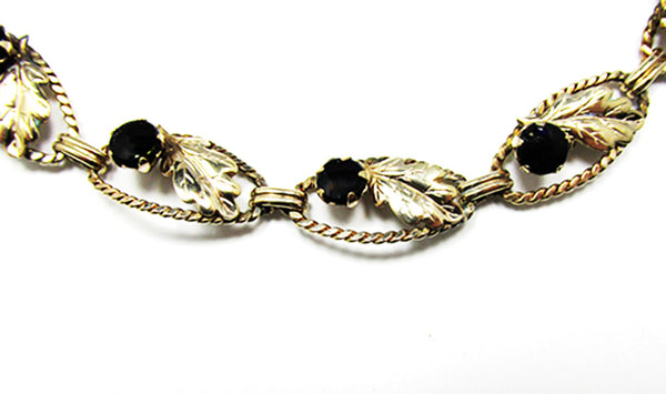 AMCO 1940s Vintage Jewelry Gorgeous Gold Filled Onyx Leaf Bracelet - Close Up